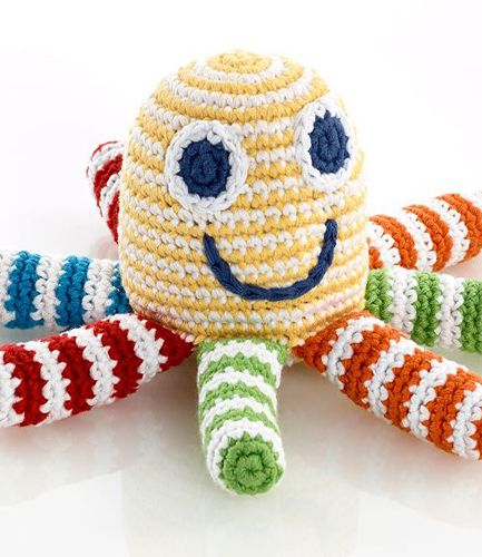 Knitted Octopus yellow RATTLE