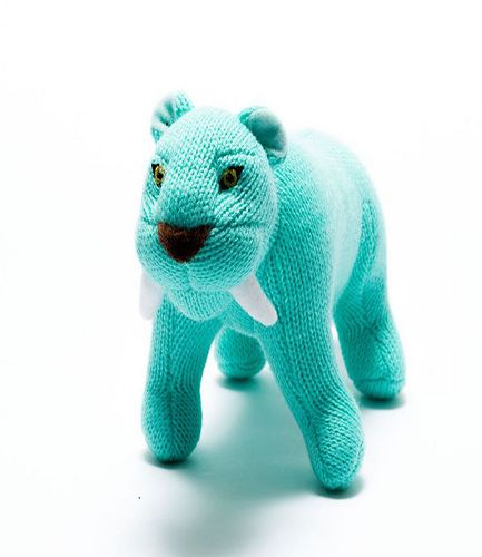 Knitted Sabre Tooth Light Blue RATTLE