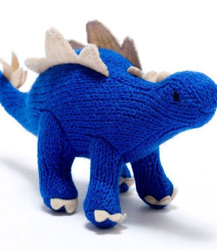 Knitted Stegosaurus Blue RATTLE