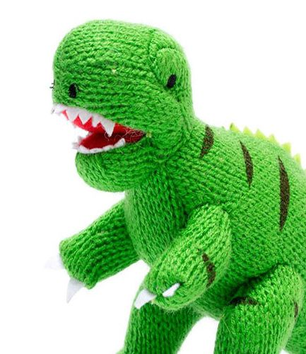 Knitted T Rex Green RATTLE