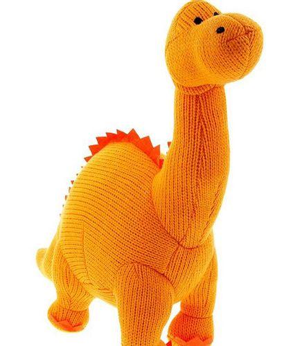 Large Knitted Dinosaur Orange Diplodocus