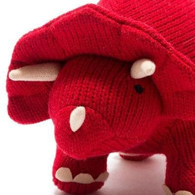 Large Knitted Dinosaur Red Triceratops