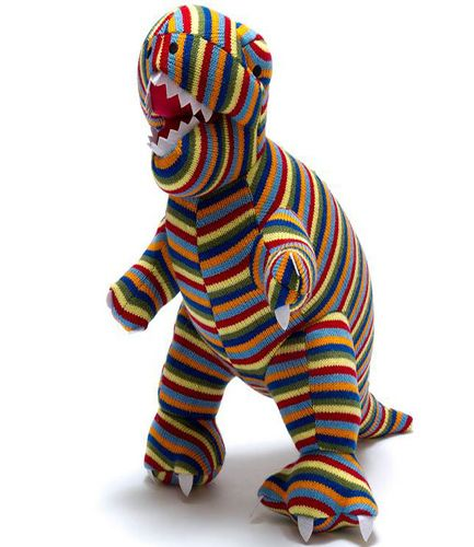Large Knitted Dinosaur Striped T-Rex