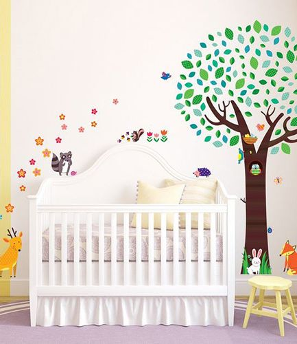 Large Tree with Animal Friends Wall Stickers
