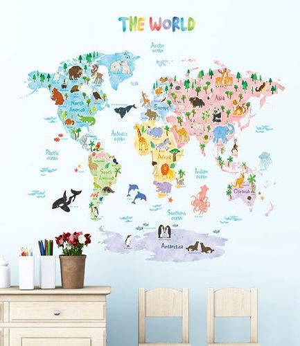 Animal World Map Wall Stickers