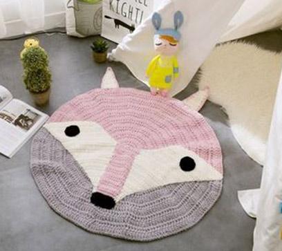 Handmade Fox Shaped Kids Rug
