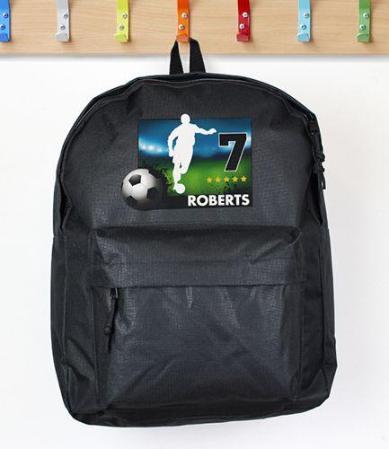 Personalised Black Football Backpack