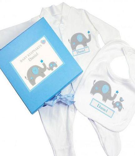 Personalised Blue Elephant Gift Set Babygrow and Bib