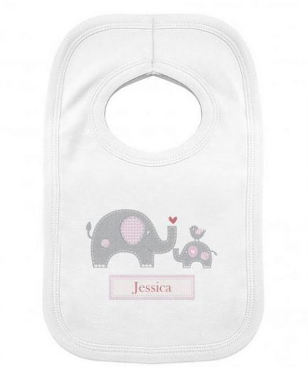 Personalised Pink Elephant Gift Set Babygrow and Bib