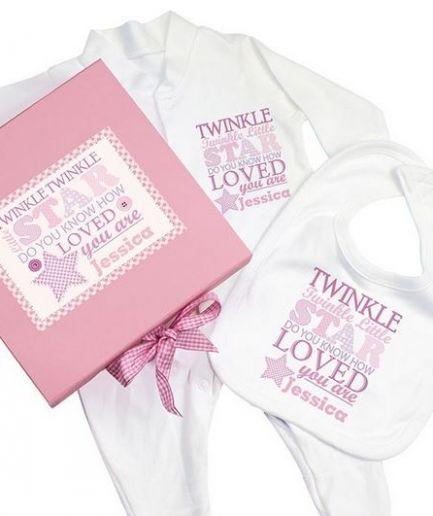 Personalised Pink Twinkle Twinkle Gift Set Babygrow and Bib