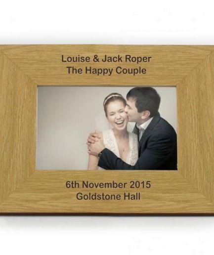 Personalised Oak Finish 6x4 Landscape Photo Frame