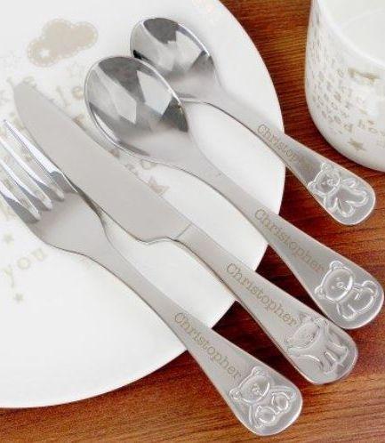 Personalised Teddy 4 Piece Cutlery Set