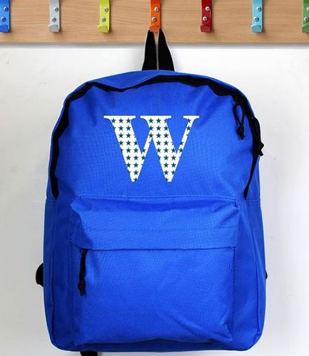 Personalised Initial Star Blue Backpack