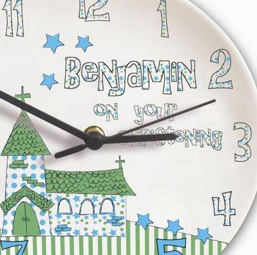 Personalised Church Blue Christening Clock
