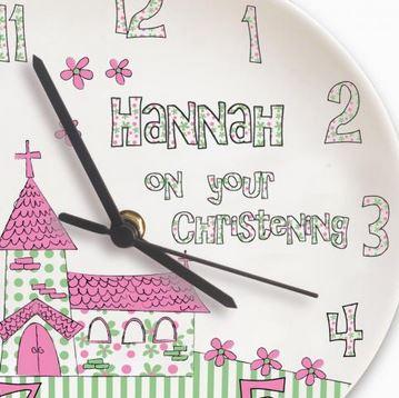 Personalised Church Pink Christening Clock