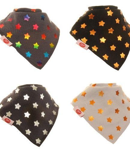 Zippy Baby Unisex Bandana Dribble Bib 4 pack Metallic Stars