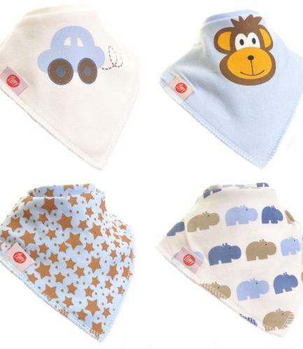 Zippy Baby Bandana Dribble Bib 4 pack Cute Blues