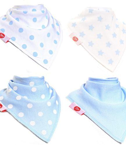 Zippy Baby Bandana Dribble Bib 4 pack Blue White