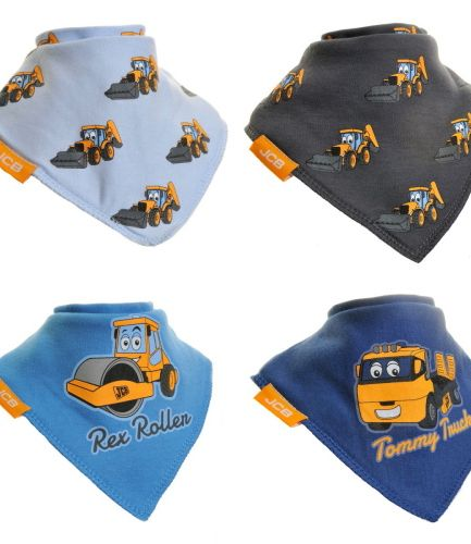 Zippy Baby Bandana Dribble Bib 4 Pack JCB Blue