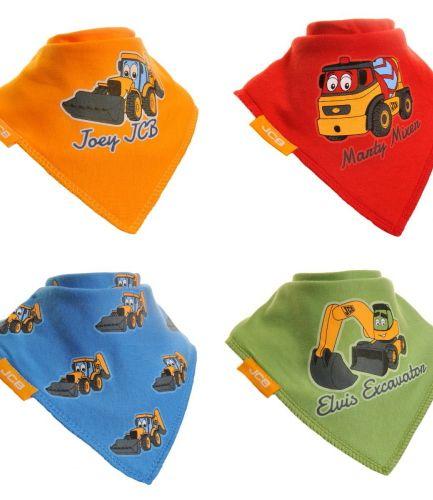 Zippy Baby Bandana Dribble Bib 4 Pack JCB Colourful