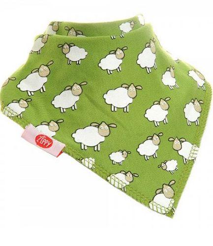 Fluffy Sheep Green Bandana Bib