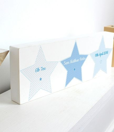 Personalised Stitch & Dot Baby Boy Wooden Block Sign