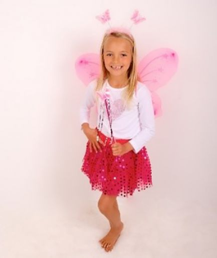 Hot Pink Sparkle Tutu And Wing Set - 3-6 years