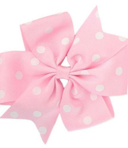 Pink Polka Dot Pinwheel Bow Medium