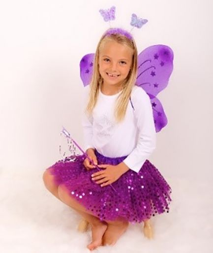 Purple Sparkle Tutu And Wing Set - 3-6 year