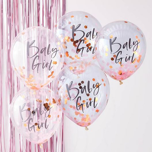 Pink Baby Girl Confetti Balloons - Twinkle Twinkle