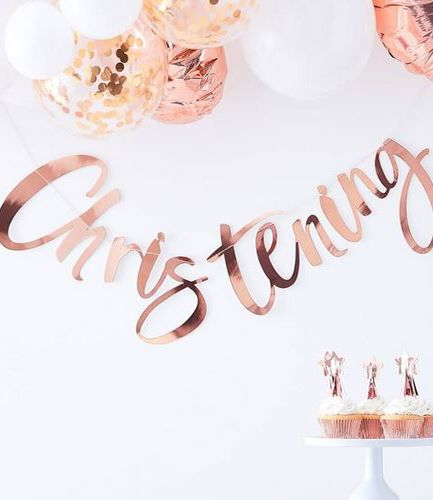 Rose Gold Christening Bunting - Twinkle Twinkle