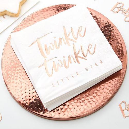 Rose Gold Twinkle Twinkle Paper Napkins - Twinkle Twinkle