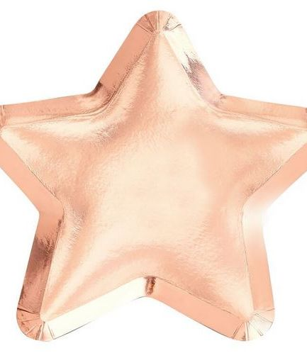 Rose Gold Star Shaped Paper Plates - Twinkle Twinkle