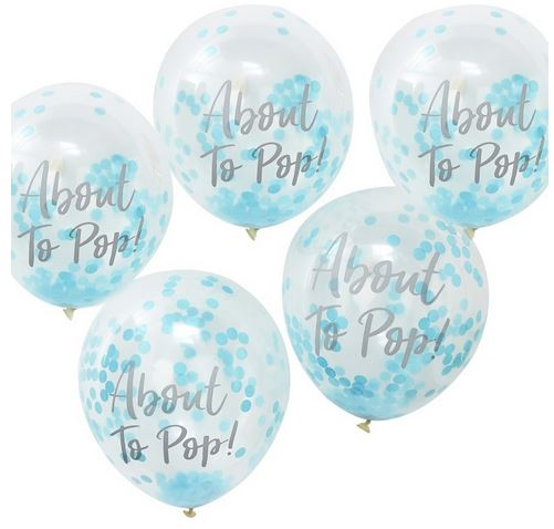 About to Pop! Printed Blue Confetti Balloons - Oh Baby!