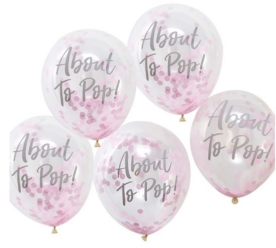 About to Pop! Printed Pink Confetti Balloons - Oh Baby!