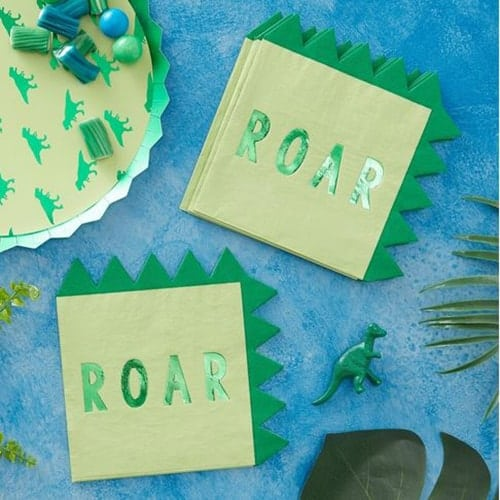 Dinosaur Shaped Paper Party Napkins - Roarsome