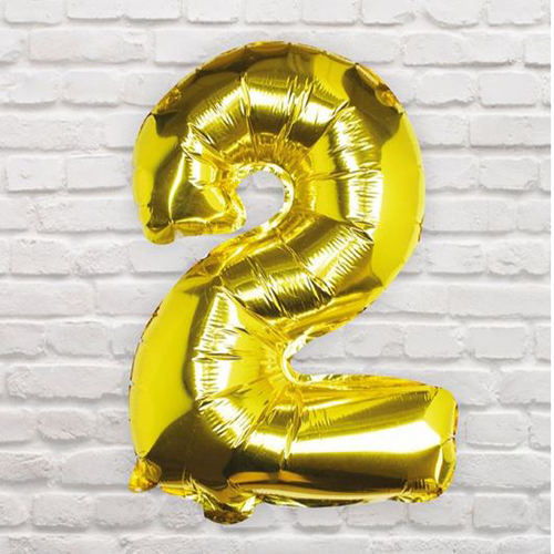 Gold Foil Number 2 Balloon - Pick and Mix