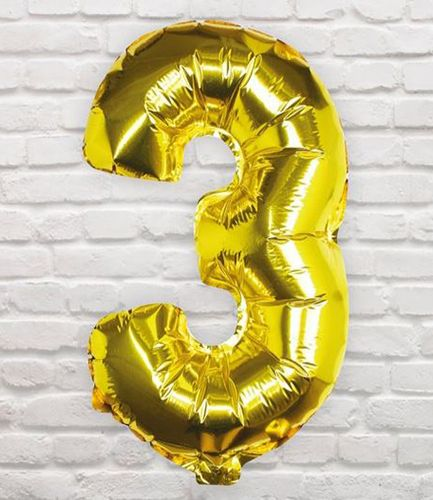Gold Foil Number 3 Balloon - Pick and Mix