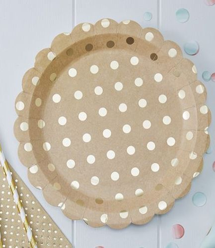 Gold Foiled Kraft Paper Plates - Pick and Mix