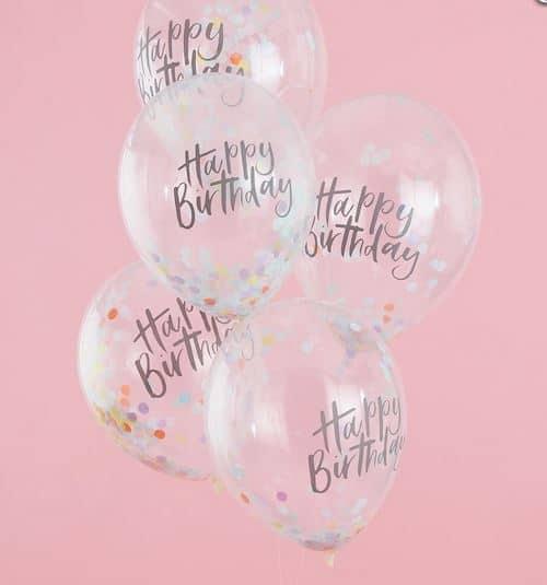 Happy Birthday Confetti Balloons - Pastel Party