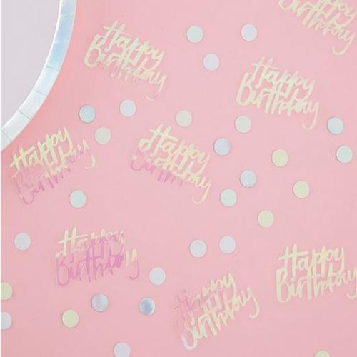 Happy Birthday Iridescent Table Confetti - Pastel Party