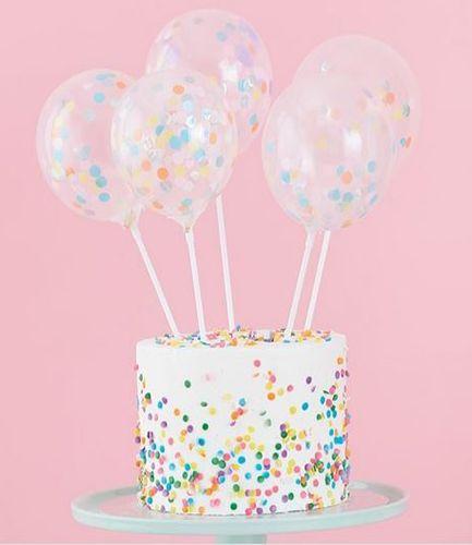 Mini Cake Topper Confetti Balloons Kit - Pastel Party