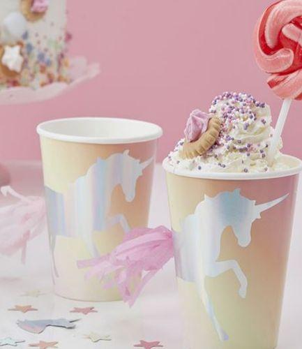Iridescent Foiled Unicorn Tassel Paper Cups - Pastel - Make A Wish