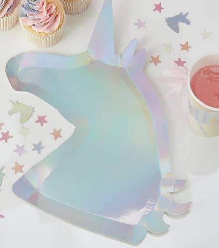 Iridescent Unicorn Shaped Paper Plates - Make A Wish