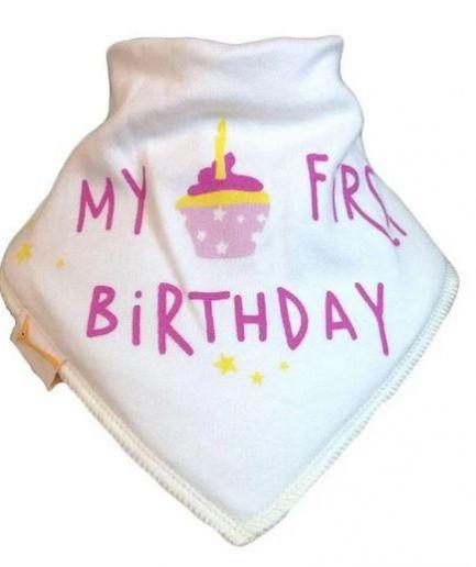 Cream My First Birthday Bandana Bib