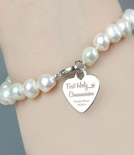 Personalised First Holy Communion Swirls & Hearts Pearl Bracelet