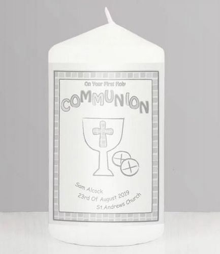 Personalised Grey First Holy Communion Candle