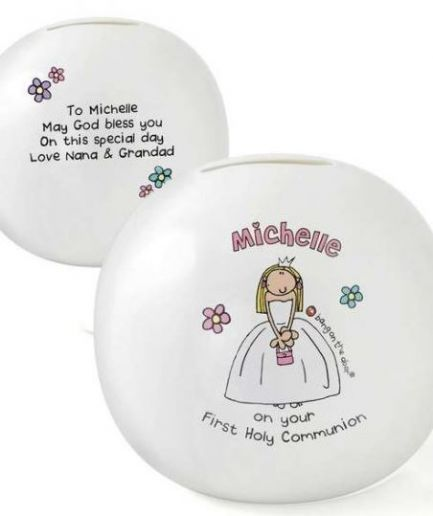 Personalised Bang On The Door First Holy Communion Girls Money Box