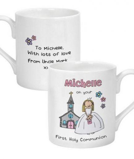 Personalised Bang On The Door First Holy Communion Girls Balmoral Mug