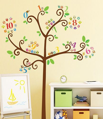Owls Numbers Tree Wall Stickers